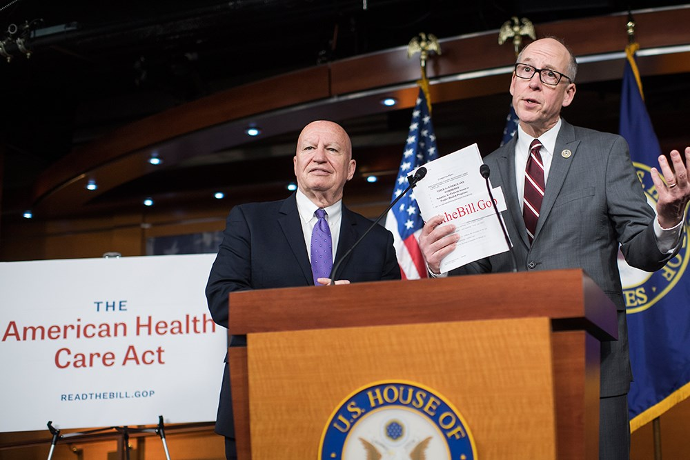 News conference introducing the American Health Care Act with Rep. Greg Walden (R-Ore.), right, and Rep. Kevin Brady (R-Texas)  <i>Photo credit: Tom Williams/CQ Roll Call</i>