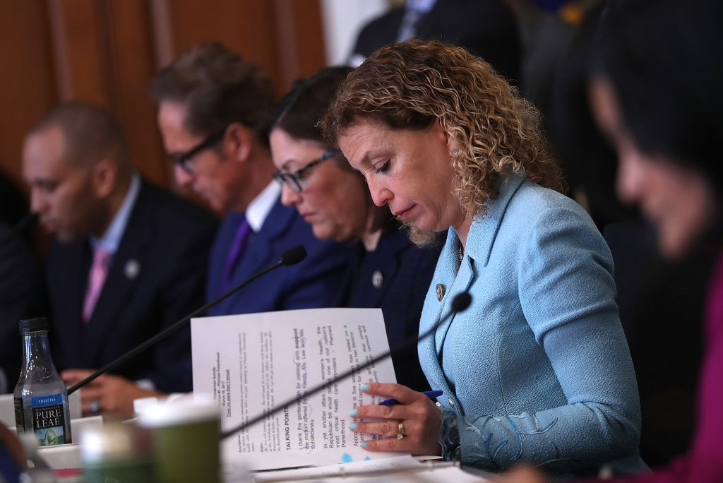 US Rep Debbie Wasserman Schultz (D-FL) at a House Budget Committee markup of the Republican health care bill on Capitol Hill, March 16, 2017.